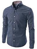 Doublju Mens Long Sleeve Printed Check Denim Shirt