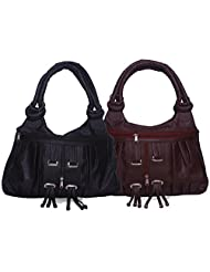 Arc HnH Women Fancy Ring Hand Bag Combo - Black + Maroon