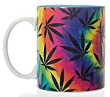 Tie Dye Pot Leaf Marijuana, Weed Coffee Mug Large 18oz (Rainbow )