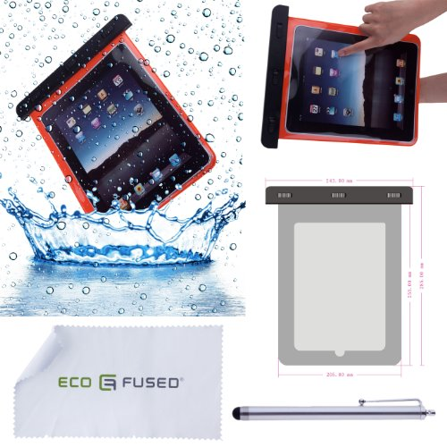 3 piece iPad 2 Accessory Bundle / Waterproof Orange iPad Case / Stylus Pen - ECO-FUSED® Microfiber Cleaning Cloth Included
