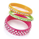 3 Piece Fashion Bangle Set Neon Pink & Green & Orange
