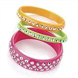 3 Piece Fashion Bangle Set Neon Pink & Green & Orange