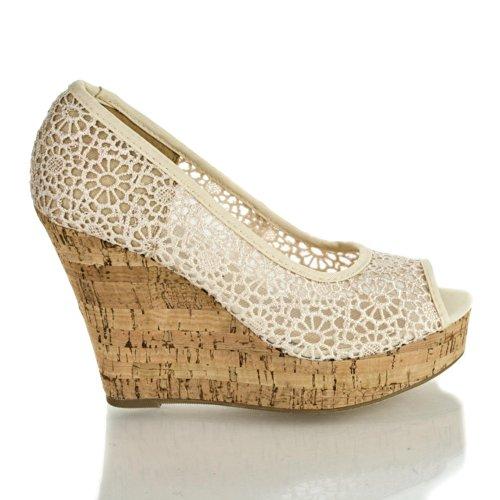 Amay Lt Taupe Floral Lace Peep Toe Platform Cork High Wedge Heel Dress Sandals-7.5 front-988114
