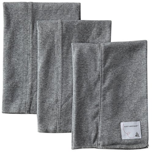 Burt's Bees Baby Boys' Organic Bee Essentials Burp Cloth 3 Pack, Heather Grey, One Size