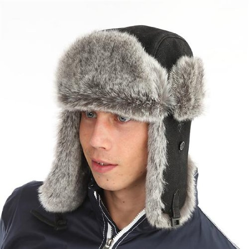 New Mens Women Unisex Adult Fur Trimmed PU Leather Warm Thermal Winter Trapper Fashion Hat. AW106