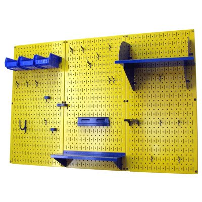 Wall Control 4ft Metal Pegboard Standard Tool Storage Kit - Yellow Toolboard & Blue Accessories