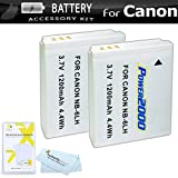 2 Pack Replacement NB-6L Battery Kit For Canon PowerShot SX260 HS, Canon SX280 HS, SX500 IS, SX510 HS, SX520 HS, SX170 IS, S120, SX600 HS, SX700 HS, SX610 HS, SX710 HS, SX530 HS, D30 Digital Camera ++