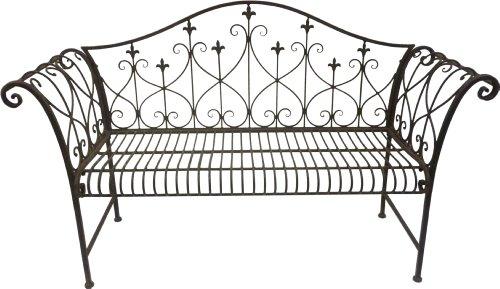 Stupendous Vintage Look Metal Outdoor Garden Bench With Ornamented High Theyellowbook Wood Chair Design Ideas Theyellowbookinfo
