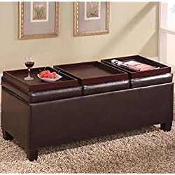 Coaster Storage Ottoman Coffee Table with Trays, Brown Vinyl