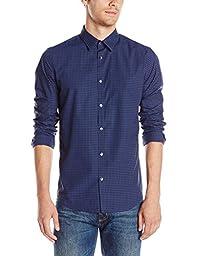 Calvin Klein Men\'s Slim Fit Infinite Cool Check Button Down Shirt, Knight Blue, Medium
