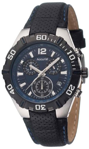Accurist Men's Quartz Watch with Blue Dial Chronograph Display and Black Leather Strap MS832N