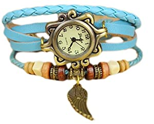 Misslo® Quartz Weave Wrap Around Leather Bracelet Lady Woman Wrist Watch with Wings (Light Blue)