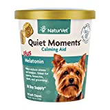 NaturVet Quiet Moments Calming Aid Plus Melatonin for Dogs, 70 ct Soft Chews, Made in USA