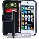 Yousave Accessories Etui en Cuir avec Stylet pour iPhone5