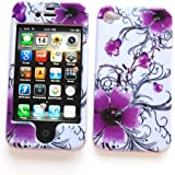 """Apple iPhone 4 & 4S Snap-on Protector Hard Case Image Cover """"Artistic Purple Flowers"""" Design"""