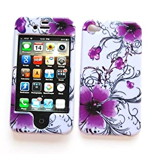"Snap-on Protector Hard Case Image Cover ""Artistic Purple Flowers"" Design"" for Apple iPhone 4 & 4S"