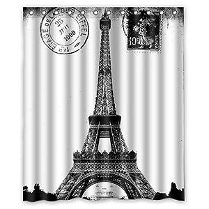 Custom Frech Paris Eiffel Tower City Of Love Black White Shower Curtain 60 X 72