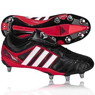 ADIDAS AdiPURE Flanker Chaussures de Rugby Homme, Noir/Blanc/Rouge, 46