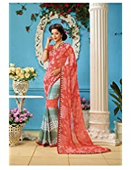 AG Lifestyle Orange & Gray Faux Georgette Saree With Unstitched Blouse AKS2030