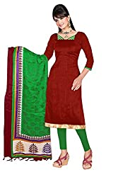 Swagpod Green Khadi Silk Unstitched Dress Material SWAG00249