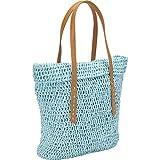 Magid Crochet Solid Paper Straw Fold Tote Shoulder Bag