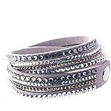 Bella Carina Damen Armband Samt mit Kristall, grau, verstellbar