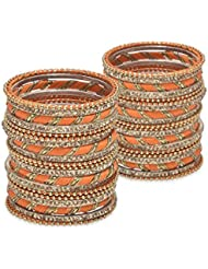 Bold Bangles: Kadha Set- Orange Lacquer Wedding Bangles For Women