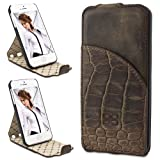 Bouletta Leather Phone case for Apple iPhone 5 5S [Flip Stand Antic Coffee]