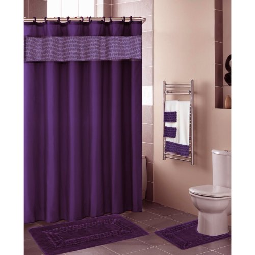 Purple FLORAL RIBBON 18-Piece Bathroom Set: 2-Rugs/Mats, 1-Fabric Shower Curtain, 12-Fabric Covered Rings, 3-Pc. Decorative Towel Set