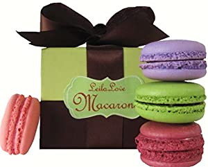 Leilalove Macarons 4 Quantities, 4 Signature Flavors ,Gluten Free, in a presentation box. We Already Gift Wrapped It 4 U!