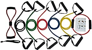 X10 Double Dipped Resistance Bands Set | Exercise Bands | Home Gym Fitness Equipment | Workout Bands | Exercise Equipment for Pilates Yoga Core Training | P90X Compatible |
