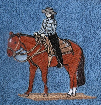 Bath Towel Set with Embroidered Western Pleasure Horse and Rider