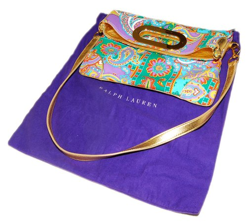 Polo Ralph Lauren Purple Label Hand Bag Tote Purse Gold Italy Handbag