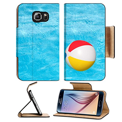 Flip Pu Leather Wallet Case Samsung Galaxy S6 MSD Premium Inflatable colorful ball floating in the swimming pool IMAGE 30213623