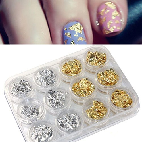 Gotd Nail Art Gold Silver Paillette Flake Chip Foil DIY Acrylic UV Gel Pager 12 PCS (Natural Colors Nail Polish compare prices)