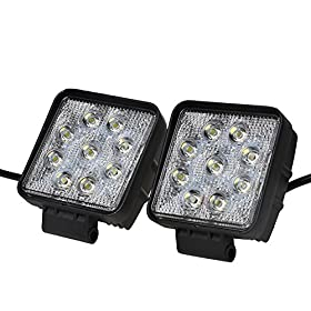 """KAWELLu00ae 2 Pack 4.2"""" 27W Square Thin Type DC 9-32V 6000K 1800lm 60 Degree LED for ATV/Jeep/boat/suv/truck/car/atvs/fishing/Deck Driving light Off Road Waterproof Led Flood Work Light"""
