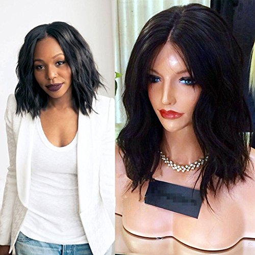 Sunwell Wig Brazilian Virgin Human Hair Natural Wavy Short Bob Glueless Lace Front Wig with Baby Hair for Black Women 10 inch 130% Density Medium Capsize by Sunwell(TM)