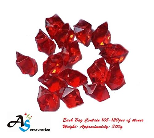 A&S Creavention Translucent Acrylic Ice Rocks Crystals Gems for Vase Fillers, Table Scatters, etc. 300g/Bag (Red) (Ice Rock Gems compare prices)