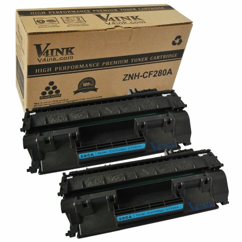 2 Pack V4INK ® CF280A New Compatible Toner Cartridge (80A) for LaserJet Pro 400 MFP M401 / M425 Laser Toner Printers