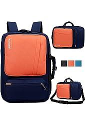 Brinch Unisex 10-17 Inch Laptop Backpack with Side Handle and Shoulder Strap, Orange-Blue