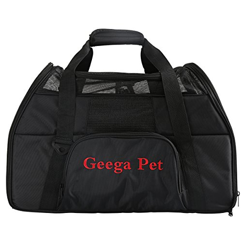 Portable Foldable Comfortable Safe Soft Sided Pet Carrier, Geega Washable Sturdy Puppy Dog Cat Travel Tote Bag Crate with Shoulder Seatbelt Luggage Strap and Leash Clip for Airline Car SUV (Black)