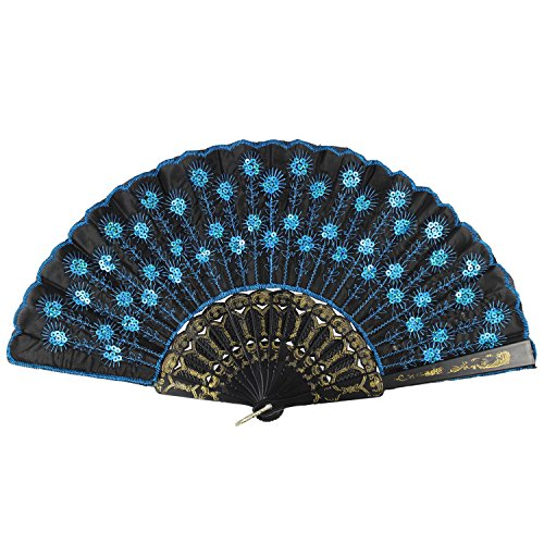 Newstarfactory Peacock Feather Blue Sequins Design Black Plastic Folding Hand Fan With Special Gift