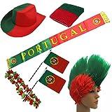 Sonia Originelli Fanpaket Portugal Flagge Perücke Blumenkette Schal Schweißband Fahne POR-SET-1-XXXL
