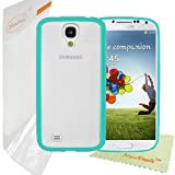 HoraDeals (TM) Turquoise Green Stylish TPU Bumper Skin Case With Hard Frosted Clear Back Cover for Samsung Galaxy S4 i9500 , Including One Microfiber Clean Cloth