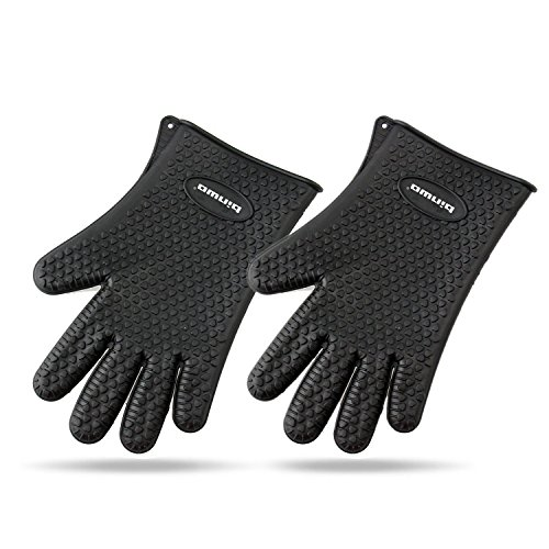 Binwo Heat Resistant BBQ Gloves - Pair of Best Silicone Pot Holders and Oven Mitts for Kitchen Cooking Baking Barbecue-Protective Your Hands-Black (Hot Heads Pot Holder compare prices)