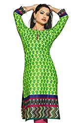 Karan Kurtis Womens Cotton Aline Kurta (Kurtis-0316-3Xl_Green)