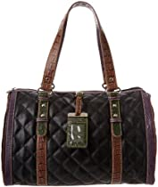 Sydney Love Color Block Quilt Satchel,Black/Multi,One Size