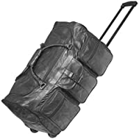 2981 25'' Black Leather Patchwork Wheeled Duffle from Rothco