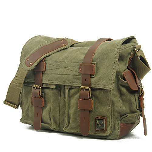 koson-man-unisex-vintage-durable-canvas-large-single-shoulder-bag-messenger-baggreen