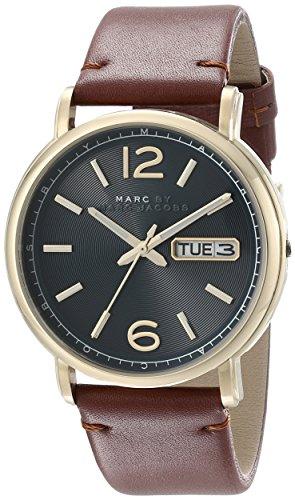 Marc Jacobs MBM5077 42 mm de acero inoxidable de la caja de color marrón y el reloj de los hombres de la fábrica de piel de becerro